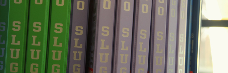 Yearbooks on a shelf
