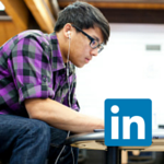 students and  linkedin logo