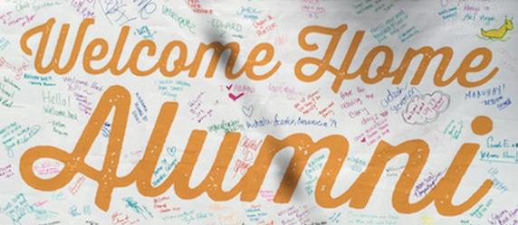 Sign welcoming alumni to Alumni Weekend 2017
